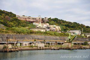 池島選炭施設と貯炭場
