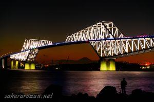 東京ゲートブリッジ(恐竜橋)夜景と富士山
