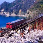 桜咲く在りし日の余部鉄橋に思いを馳せる